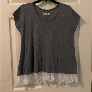 Abercrombie and Fitch Gray Lace-Bottom Top